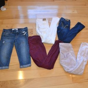 Hollister jeans 5pr sz 1 skinny white burgundy